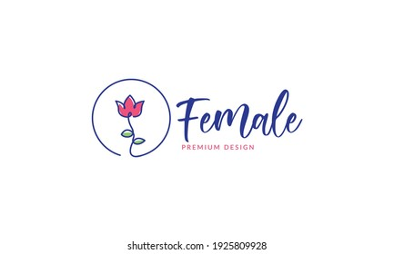 rose flower red lines abstract with lettering logo design vector icon symbol graphic illustration