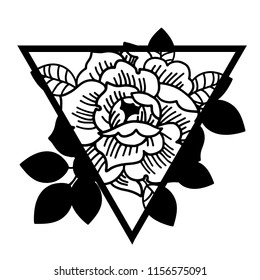 Rose flower with sacred geometry frame.Tattoo, mystic symbol. Boho print, poster, t-shirt. textiles. Vector illustration art. Vintage engraving. Vintage style. Traditional art tattoos. Blackwork.