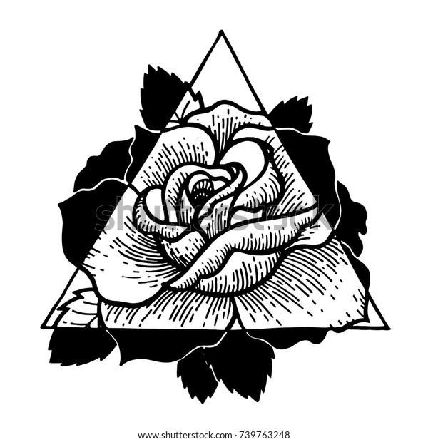 Image Vectorielle De Stock De Fleur De Rose Avec Cadre