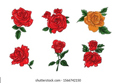 Rose flower set of blooming plant. Garden rose isolated icon of red blossom, petal and bud with green stem and leaf for romantic floral decoration, wedding bouquet and valentine greeting card - Vector