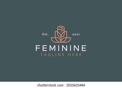 Rose Flower Simple Geometric Feminine Symbol Logo