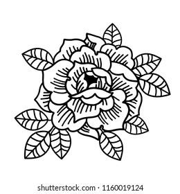 Rose flower. Tattoo, mystic symbol. Boho print, poster, t-shirt. textiles. Vector illustration art. Vintage engraving. Vintage style. Traditional art tattoos. Blackwork.