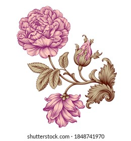 Rose flower vintage pink Baroque Victorian floral ornament frame border golden leaf scroll engraved red retro pattern decorative design tattoo botany filigree calligraphic vector