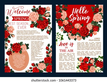 Rose flower wreath festive banner for Hello Spring season celebration design. Floral bouquet of red and pink rose flower, blooming jasmine branch with white blossom and green leaf greeting poster