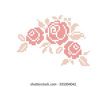 Rose. Flowers. Element embroidery. Vector illustration.