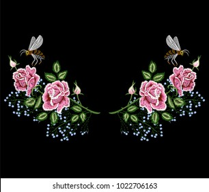 rose flowers embroidery with bee, floral embroidery patch, flower for tee, t-shirt print, neckline design