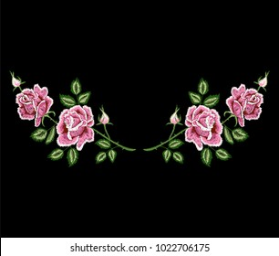 rose flowers embroidery, floral embroidery patch, flower for tee, t-shirt print, neckline design