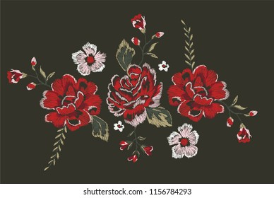 rose flowers embroidery graphic