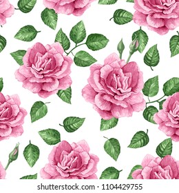 Rose flowers, petals and leaves in watercolor style on white background. Seamless pattern for textile, wrapping paper, package, Art vector illustration.