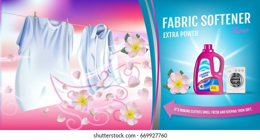 Rose fragrance fabric softener gel ads. Vector realistic Illustration with laundry clothes and softener rinse container. Horizontal banner