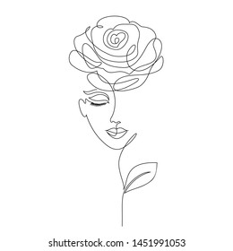 Rose girl on white background. One line drawing style.