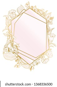 Rose and gold botanic card. Floral, lilies bouquet wedding invitation design. Geometric frame. Brochure, cover template. Vector