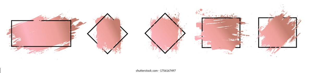 Rose gold brush strokes with frame for text. Dirty artistic design elements with picture frame. Boxes for text. Gold rose splashes set for logo, banners, flyers, cards and other. Vector set