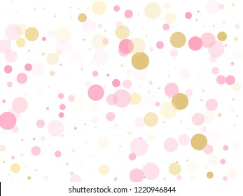 Rose gold confetti circle decoration for wedding invitation card. Holiday vector pattern. Gold, pink and rose color round confetti dots, circles scatter on white. Beautiful bokeh background.