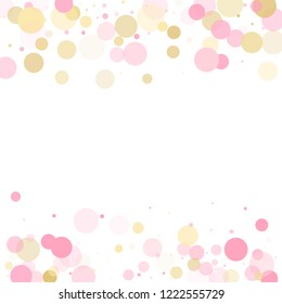 Rose gold confetti circle decoration for party invitation card. Birthday vector illustration. Gold, pink and rose color round confetti dots, circles scatter on white. Trendy rich bokeh background.