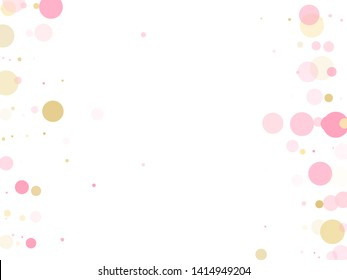 Rose gold confetti circle decoration for New Year card background. Holiday vector pattern. Gold, pink and rose color round confetti dots, circles chaotic scatter. Trendy airy bokeh background.