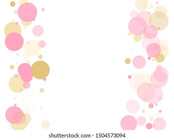 Rose gold confetti circle decoration for New Year card background. Holiday vector illustration. Gold, pink and rose color round confetti dots, circles chaotic scatter. Simple bokeh background.
