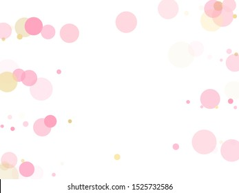 Rose gold confetti circle decoration for Valentine card background. Holiday vector pattern. Gold, pink and rose color round confetti dots, circles chaotic scatter. Simple bokeh background.