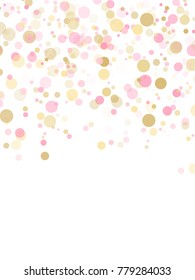 Rose gold confetti circle decoration for christmas card background, holiday vector illustration. Gold, pink and rose color round confetti dots, circles chaotic scatter, trendy rich bokeh background.