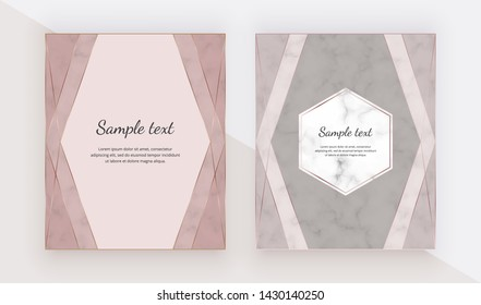 Rose gold design cards with polygonal lines frames. Trendy templates for banner, flyer, poster, greeting.