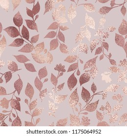 Rose gold. Elegant texture with a floral pattern for the design of invitations, cards and covers