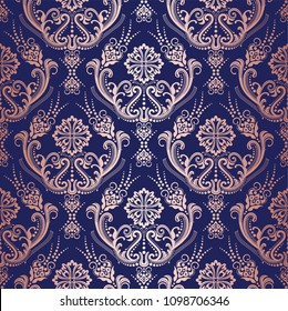 Rose gold floral damask wallpaper on navy background. This image is a vector illustration.