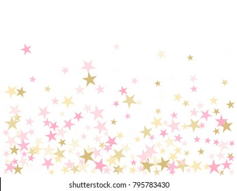 Rose gold flying stars confetti magic christmas vector, premium sparkles stardust background pattern. Holiday party decor in rose color and gold, Christmas stars vector print, flying confetti sparkles