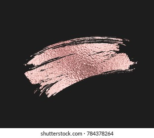 Rose gold foil brush mascara stroke. Pink sparkle glossy metallic grunge or smudge paint texture isolated on black background. Vector gold rose glitter gradient brushstroke pattern for your design.