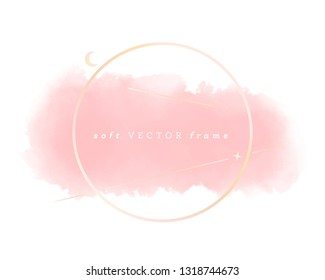 rose gold geometric design. soft pink brush stroke on white. beauty graphic element template background. eps 10