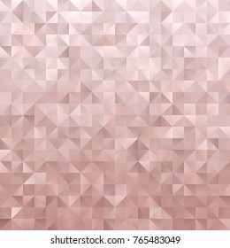 Rose Gold Geometric Low Poly Vector Background. Pink Metallic Gradient Faceted Pattern. Shiny Triangles.
