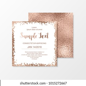 Rose gold glitter cards with sparkle texture and blush dot confetti.