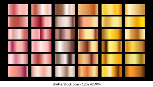 Rose gold gradient collection vector design texture. Golden bronze metal gradient template for web