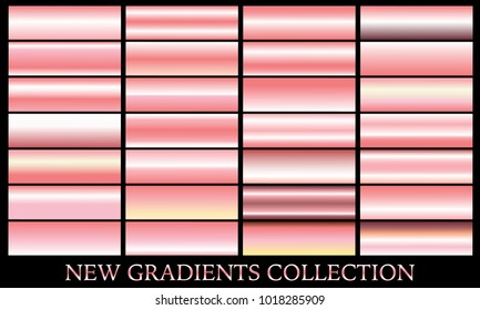 Rose gold gradient set background vector icon texture metallic illustration