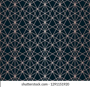 Rose gold linear pattern. Vector geometric seamless texture. Metallic copper lines on black background. Luxury ornament with delicate grid, lattice, net, mesh. Abstract repeated graphic background