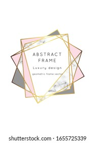 Rose gold marble modern wedding invitation.Geometric shape frame.Luxury vector.Perfect for design brochure, flyer, cover, poster, card, logo, business identity style.
