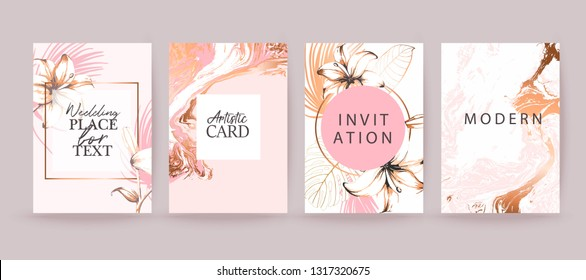Rose gold marble texture card. Floral, lilies decorative bouquet with palm leaves. Wedding invitation design.  Grunge texture. Brochure, cover template.