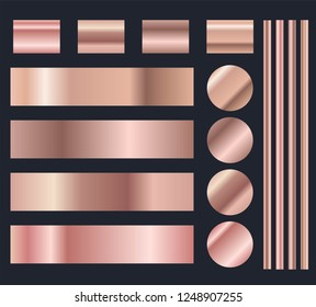 Rose gold metal gradient vector collection