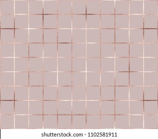 Rose gold metal grid seamless pattern with glitter rectangle texture.