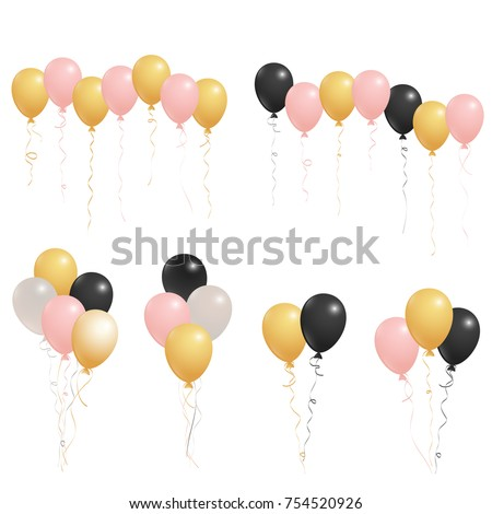 Rose Gold Pink Silver Black Flying Stock Vector Royalty Free