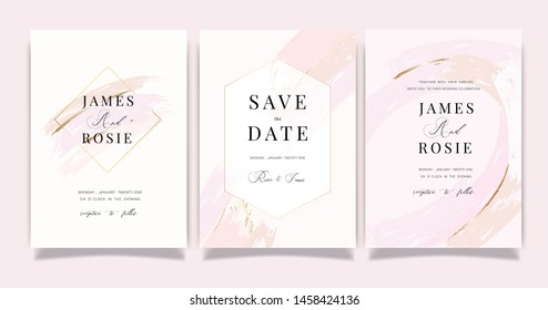 Rose gold and pink Wedding invitation, RSVP, thank you cards. Vector elegant rustic template. Swirls of marble or the ripples of agate. Liquid marble texture and Golden metallic. Fluid art.