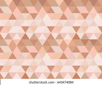 Rose gold seamless vector background in a geometric triangles pattern design. Pink, peach, light brown and sepia feminine color shades, elegant and shiny, delicate and glossy wallpaper.