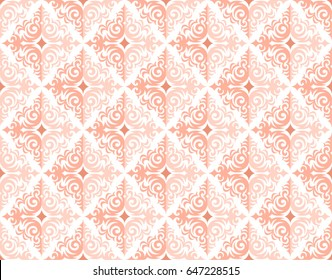 Rose gold seamless vector background in a damask pattern design, pink and peach feminine colors, elegant and shiny metal shades, delicate and glossy wallpaper.