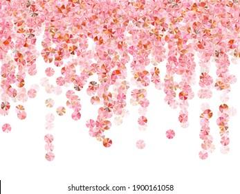 Rose gold sequin confetti placer vector composition. Valentine's day background design. Festive sparkling spangle elements party decor. Romantic love valentine confetti.