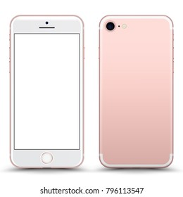 Rose Gold Smartphone Mockup with Blank Screen Isolated. Realistic Front and Back View For Print, Web, Application. High Detailed Device Mock Up Separate Groups and Layers. Easily Editable Vector.