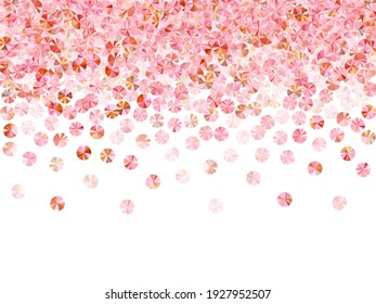 Rose gold tinsels confetti placer vector March 8 Intermational Womens Day background. Valentine's day background design. Circle shimmering foil particles party decor. Romantic love valentine confetti.
