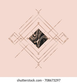 Rose gold. Trendy geometric luxury pattern, textured abstract background for brochure, flyer or presentations design, vector illustration. Design for poster, card, invitation, wedding invitation.