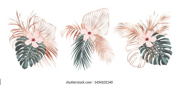 Rose gold tropical palm leaves and hibiscus flowers composition card design.
