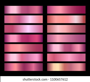 Rose Gold Vector foil texture gradients templates set. Collection of pink metallic gradient illustration gradation for backgrounds, cover, frame, ribbon, banner, coin, label, flyer, card poster design