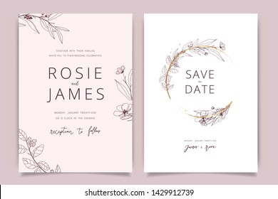 Rose gold Wedding Invitation, floral invite thank you, rsvp modern card Design in hand drawn flower with leaf greenery  branches decorative Vector elegant rustic template