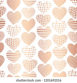 Rose golden foil heart shape seamless vector pattern. Copper abstract textured hearts on white background. Elegant art for web banner, digital paper, gift wrap, Christmas, Valentines, invite, wedding